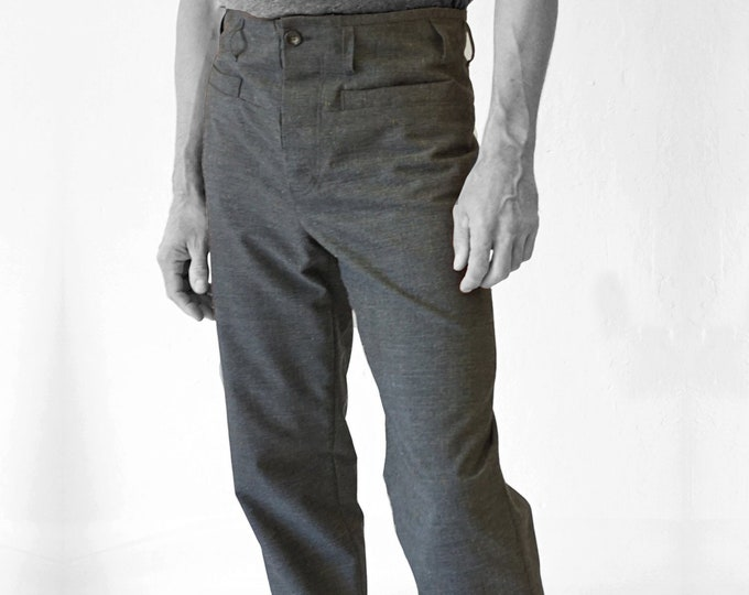 SALE! TROUSERS MEN, Wool, gray, G.D.R Vintage fabric