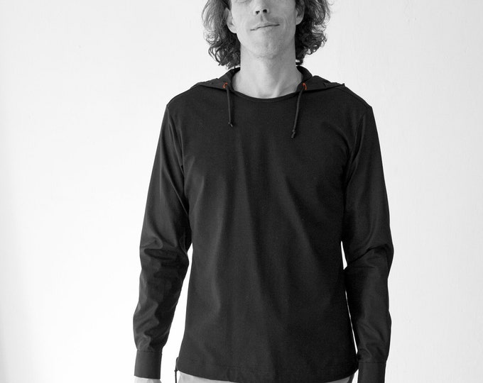 MEN HOODY SHIRT, white, black, Slip form, hood, Jersey, Cotton, hoody