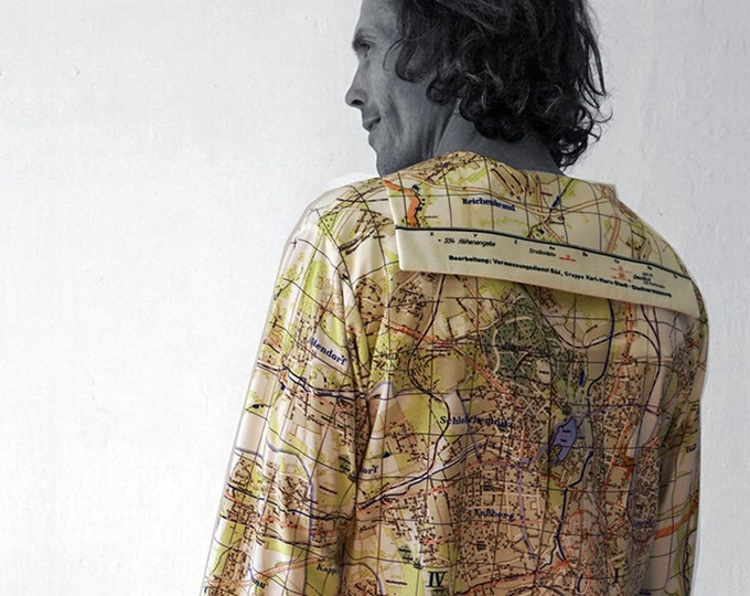 PIONEER Shirt with long Sleeves, sailor collar, Seaman, Karl- Marx- Stadt, Map, card, plan, Socialism, digital print, Karl Marx, Uniform