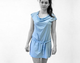 DRESS with flounce and Belt, Waterfall Collar, Cowl Neck, in different colours