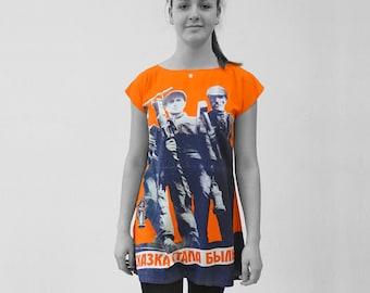 PIONEER Dress, Tunic, Viscose, Communism, Socialism, digital print, Soviet Union, workers posters, propaganda, 1920s, October Revolution