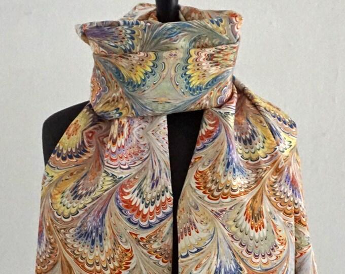 ART DECO SCARF Silk, Cotton, Art Nouveau, digital print, 1920s, 1930s, 1940s, orange, yellow