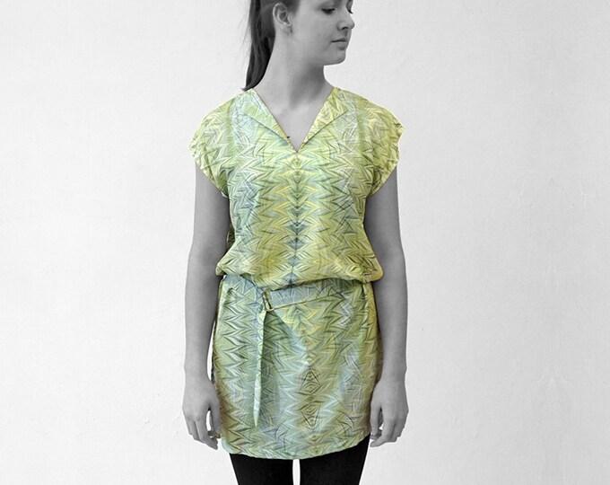 ART DECO Dress, Tunic, with belt, Viscose, Art Deco, Art Nouveau, digital print, 1920, 1930, 1940s, marbling, art déco, 19th century