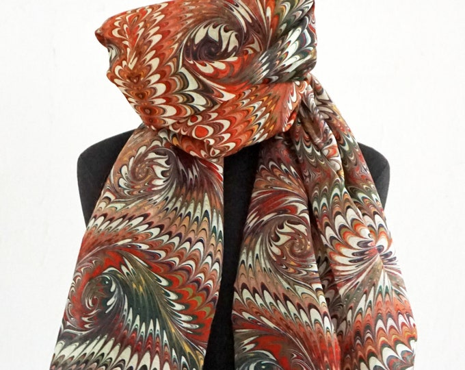 ART DECO SCARF Silk, Cotton, Foulard, Bandanas, Art Nouveau, digital print, 1920s, 1930s, 1940s, marbling wrap, white, brown