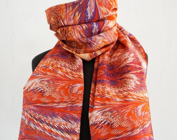 ART DECO SCARF Silk, Cotton, Art Nouveau, digital print, 1920, 1930, 1940, orange, blue, red
