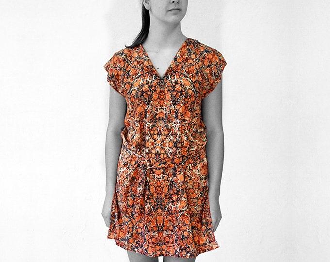 ART DECO Tunic, Dress with belt, Viscose, Art Deco, Art Nouveau, digital print, 1920, 1930, 1940s, marbling, art déco, 20th century