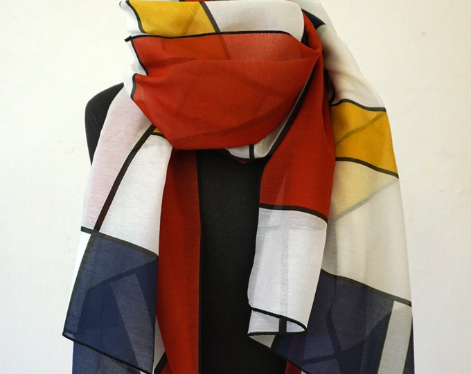 SCARF 100 years BAUHAUS, De Stijl, Constructivism, Concrete Art, primary colors, Silk, Cotton, 1920 - 1940, Digital Print