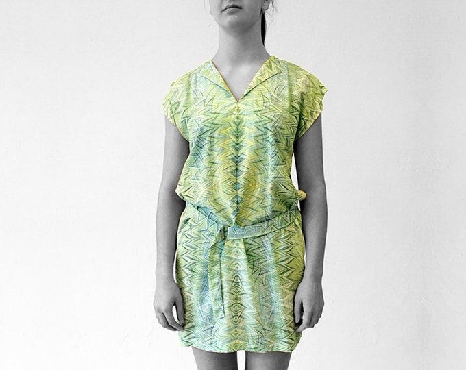ART DECO Dress, Tunic with belt, Viscose, Art Deco, Art Nouveau, digital print, 1920, 1930, 1940s, marbling, art déco, 19th century