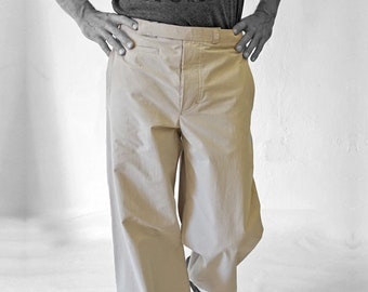 SALE! TROUSERS MEN without side seam, with watch pocket, cotton, light brown