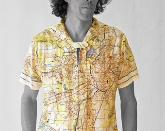PIONEER Shirt with short Sleeves, sailor collar, Karl- Marx- Stadt, digital print, Karl Marx