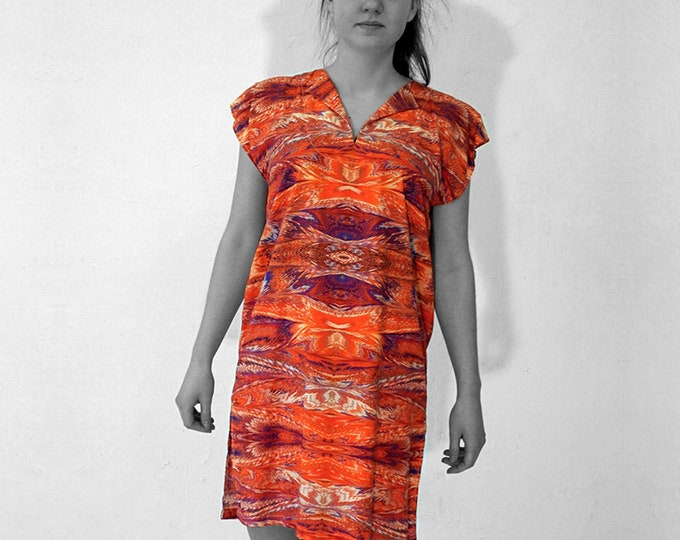 ART DECO Belt Dress, Tunic, with belt, Viscose, Art Deco, Art Nouveau, digital print, 1920, 1930, 1940s, marbling, art déco,