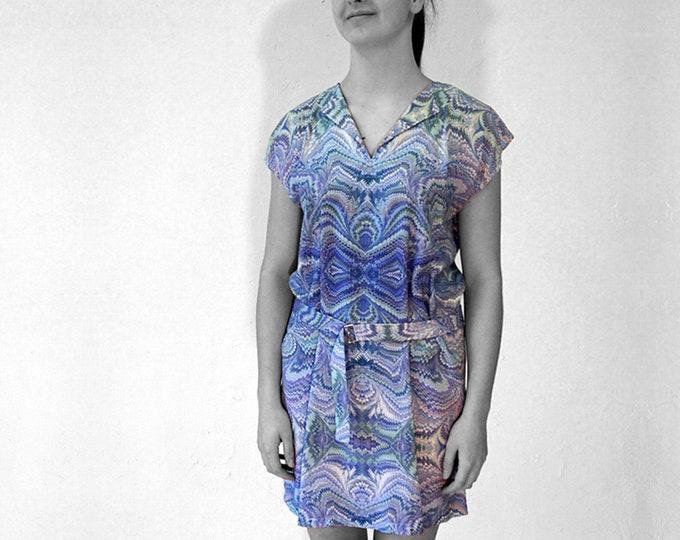 ART DECO Dress with belt, Tunic with belt, Viscose, Art Deco, Art Nouveau, digital print, 1920, 1930, 1940s, marbling, art déco,