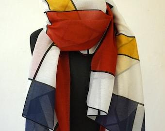 SCARF 100 years BAUHAUS, De Stijl, Constructivism, Concrete Art, Piet Mondrian, primary colors, Silk, Cotton, 1920 - 1940, Digital Print