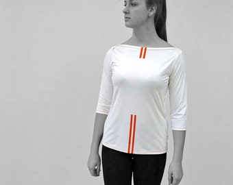 PIONEER T-SHIRT No. 6, 3/4 Sleeves, U- Boat neck, in different colours, long sleeves, red Stripes