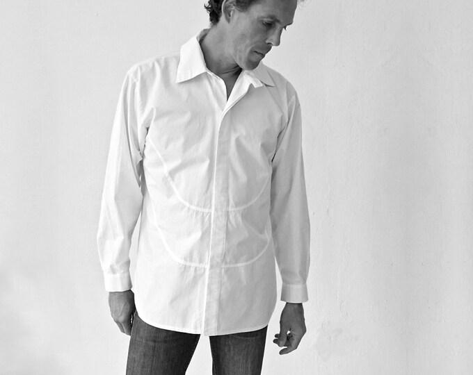 SALE! SHIRT FROCK, Smoking, white, cotton, polyester, hidden button, frock, tuxedo, smoking
