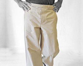 TROUSERS MEN with watch pocket, cotton, light brown