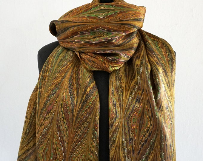 ART DECO SCARF Silk, Cotton, Art Nouveau, digital print, 1920s, 1930s, 1940s, silk wraps, art déco, brown, green, Wrap