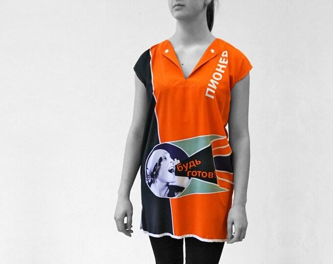 PIONEER Dress Tunic, Viscose, Communism, Socialism, digital print, Soviet Union, workers posters, propaganda, 1920s to 1940s