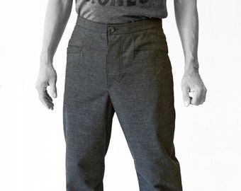 SALE! TROUSERS MEN with diagonale pockets, Wool, gray, G.D.R Vintage fabric