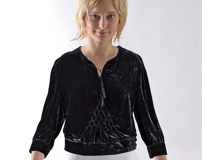 SMOK BLOUSE with BEADS, in various fabrics, embroidered, handsmok, handmade