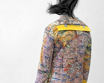 PIONEER Blouse with 3/4 Sleeves, sailor collar, Seaman, Berlin Map, card, plan Berlin, Socialism, digital print,
