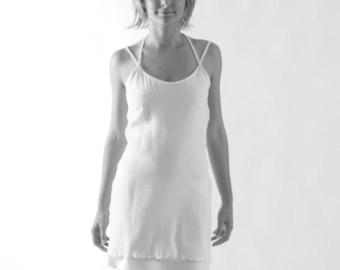 SALE! crashed DRESS white, short, Plissee, plisse, Jerseydress, slim, Crepe de Chine, overlying, structure, texture