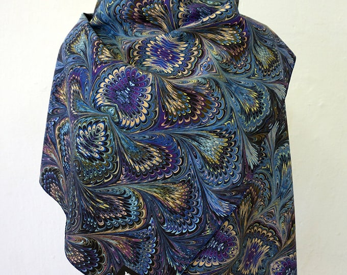 ART DECO SCARF Silk, Cotton, Art Nouveau, art déco, digital print, 1920s, 1930s, 1940s, marbling