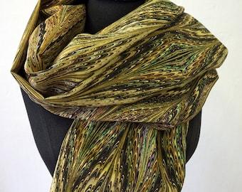 ART DECO SCARF Silk, Cotton, Art Nouveau, digital print, 1920s, 1930s, 1940s, silk wraps, art déco, brown, green, Wrap