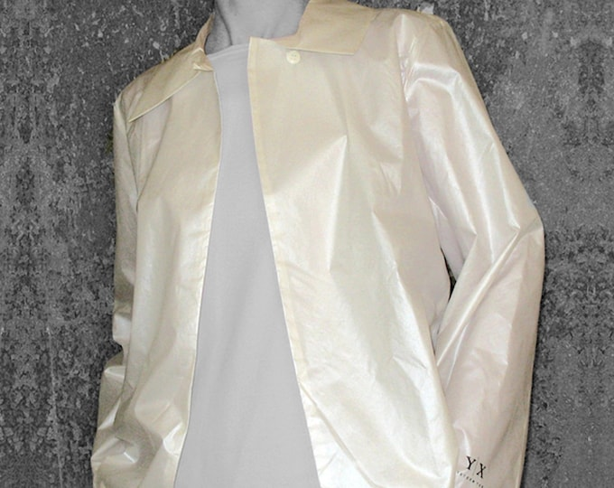 SALE! SILK JACKET with screen print, shiny, beige, cream, wedding, bride, collar, A- Silhouette, a line