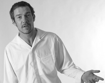 MEN SHIRT with LAPEL, white, black, light blue, concealed closure, hidden buttons, formal wear