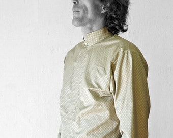 MEN SHIRT stand-up Collar, in different colours, with screen print, Mao, nehru, concealed closure, wedding, minimalist