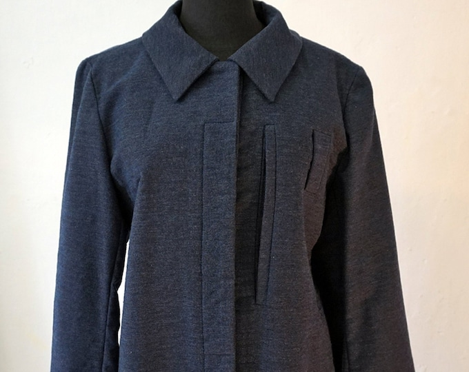 SALE! JACKET A- Line, blue, brown, short Blazer, Fall, Winter, Wool, A silhouette, concealed closure