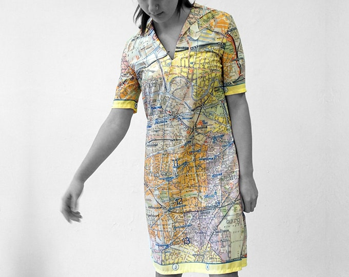 PIONEER Dress with Belt, 3/4 Sleeves, sailor collar, Berlin Map, plan Berlin, Socialism, digital print, Karl Marx
