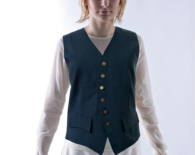 SALE! UNIFORM VEST, 19th century, wool, silver buttons
