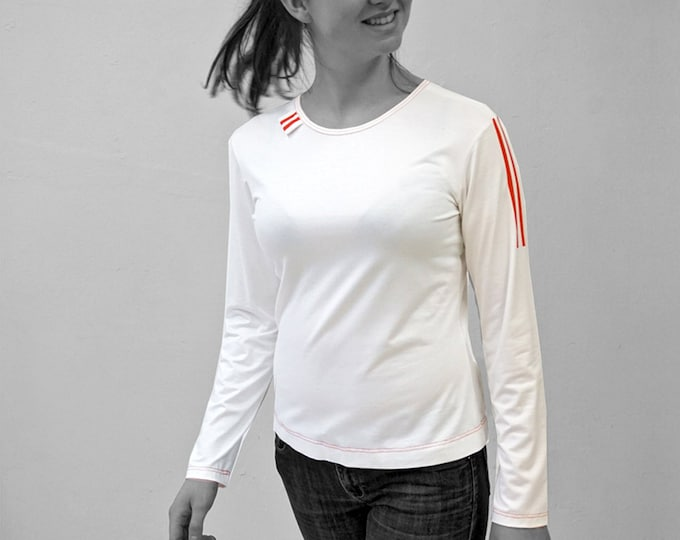 PIONEER T-SHIRT No. 5, Round Neck, light gray, jersey, cotton, long sleeves, GDR Pioneer, red Stripes