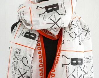 SCARF DADAISM Dada, 100 years Bauhaus, Anna Blume, Surrealism, Drawings, Merz Art, cotton, silk, Digital Print