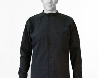 Men Shirt with STANDUP COLLAR + POCKETS in different colors, Stripes, Mandarin, Nehru, Mao Collar, silk, classic, collarless, Nehru