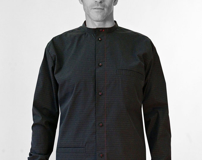 Men Shirt with STANDUP COLLAR + POCKETS  Stripes, Mandarin, Nehru, Mao Collar, silk, black, white, casual, classic, collarless, Nehru
