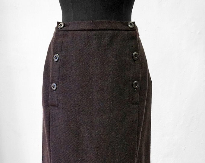 SALE! 2-row SKIRT Wool brown, Winterskirt, Midi Skirt, double breasted, slim, knee length