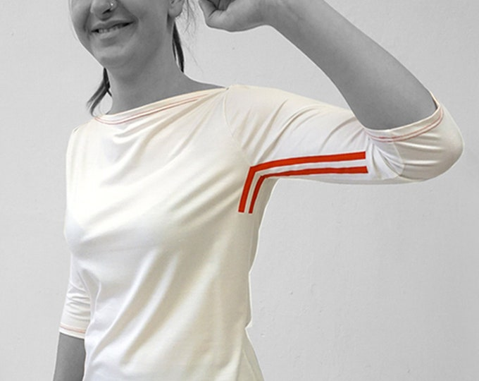 PIONEER T-SHIRT No. 3 in different colours, 3/4 Sleeves, Boat neck, GDR Pioneer uniform