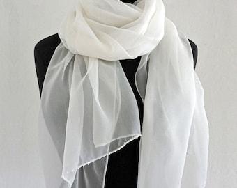 SILK CHIFFON SCARF embroidered with Beads, Silk Shawl, wedding, translucent, transparent, long shawl