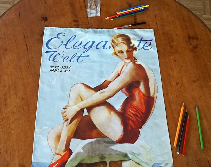 "ART DECO ""Woman in a Bathing Suit"", Tea Towel, Table Runner, Placemat, Picture, Organic Cotton, Art Nouveau, digital print, 1930s"
