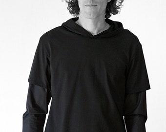 MEN HOODY SHIRT, white, black, red, Slip form, hood, wedding, Sportswear, Classic, casual, custom, Jersey, Cotton, layering Shirt