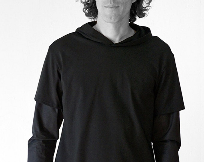 MEN HOODY SHIRT, white, black, red, Slip form, hood, wedding, Sportswear, Classic, casual, custom, Jersey, Cotton, layering Shirt