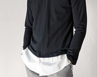 TONGUE RAGLAN SHIRT, Nehru, Mao, Mandarin, white, black, slim, stand-up collar, Sportswear, Classic, custom, Jersey, layering Shirt