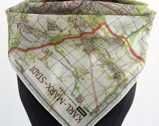KARL- MARX- STADT Map Scarf, Silk, Cotton, Foulard, digital print, 1960 years, Karl Marx