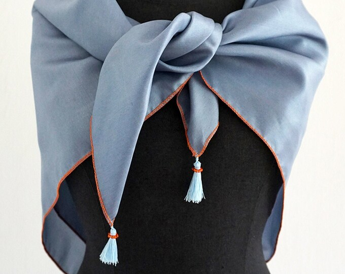 SILK SCARF with TASSELS pigeon blue, embroidered with Beads, wedding, square shawl
