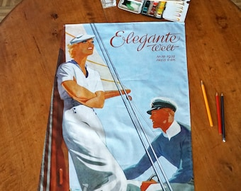 "ART DECO ""SAILOR"" Tea Towel  Table Runner, Placemat, German Magazine ""Elegante Welt"", Organic Cotton, Art Nouveau, digital print, 1930s"