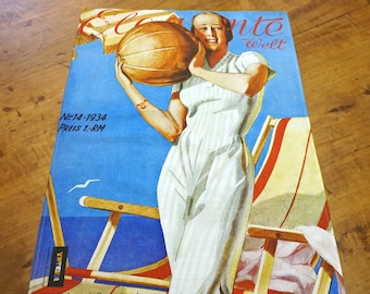 "ART DECO ""Woman with Ball"", Tea Towel, Table Runner, Placemat, Picture, Organic Cotton, Art Nouveau, digital print, 1930s"