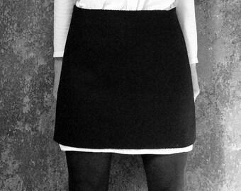 WINTER FELT SKIRT Wool, Winter, short, black, blue, white